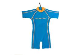 Traje de baño una pieza azulino/naranjo UPF 50+