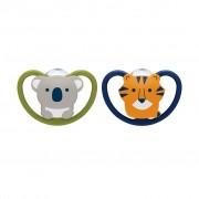 2 chupetes space koala y tigre etapa 3 (18 a 36 meses)
