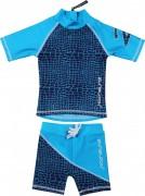 Traje de baño azul marino-turquesa dos piezas